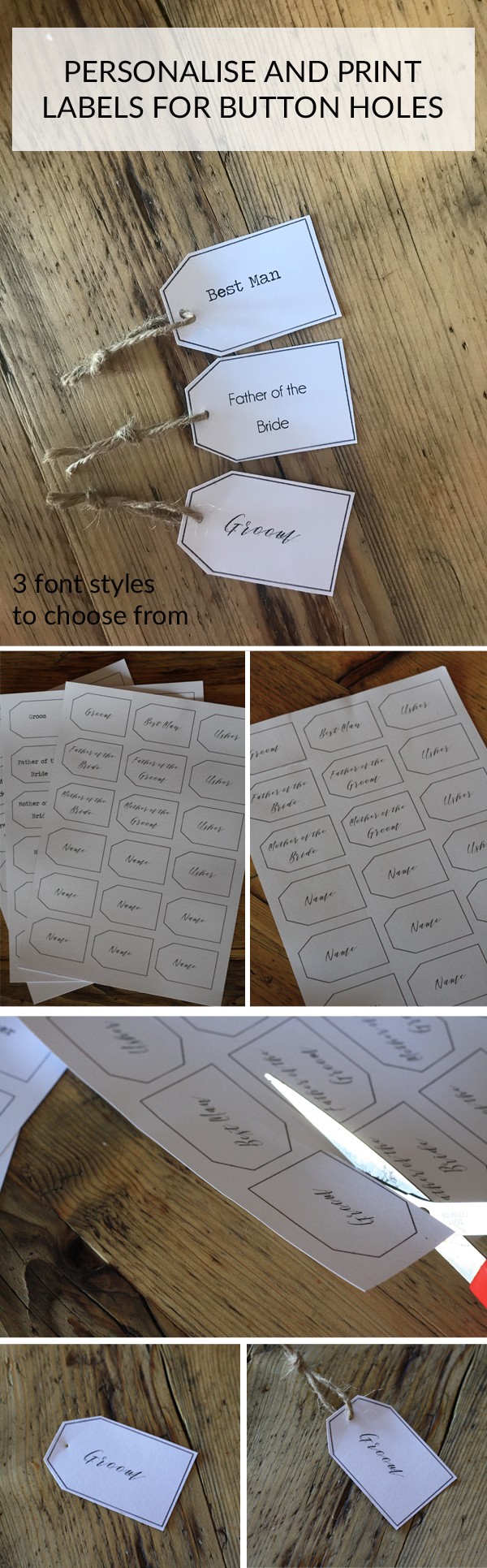 personalise and print labels for button holes wedding templates