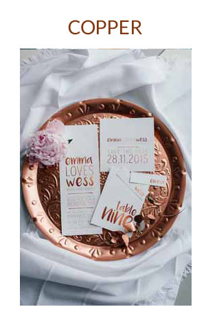 COPPER wedding colour scheme