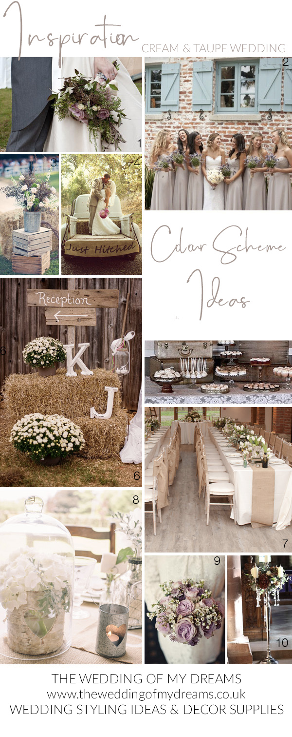 Nude cream taupe wedding colour schemes