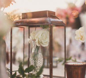 Brass lantern wedding centrepiece