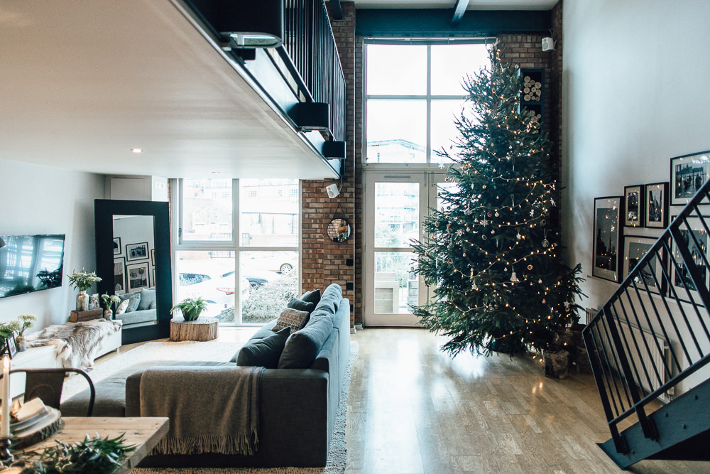 Large Christmas Tree Industrial Living loft apartment
