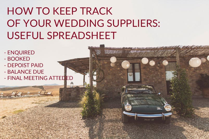 how to keep track of wedding suppliers spreadsheet
