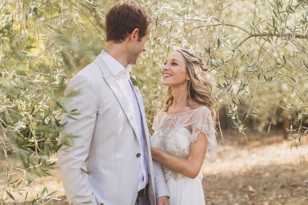 Anna Campbell Wedding Dress Italian wedding destination wedding Tuscany Olive groves