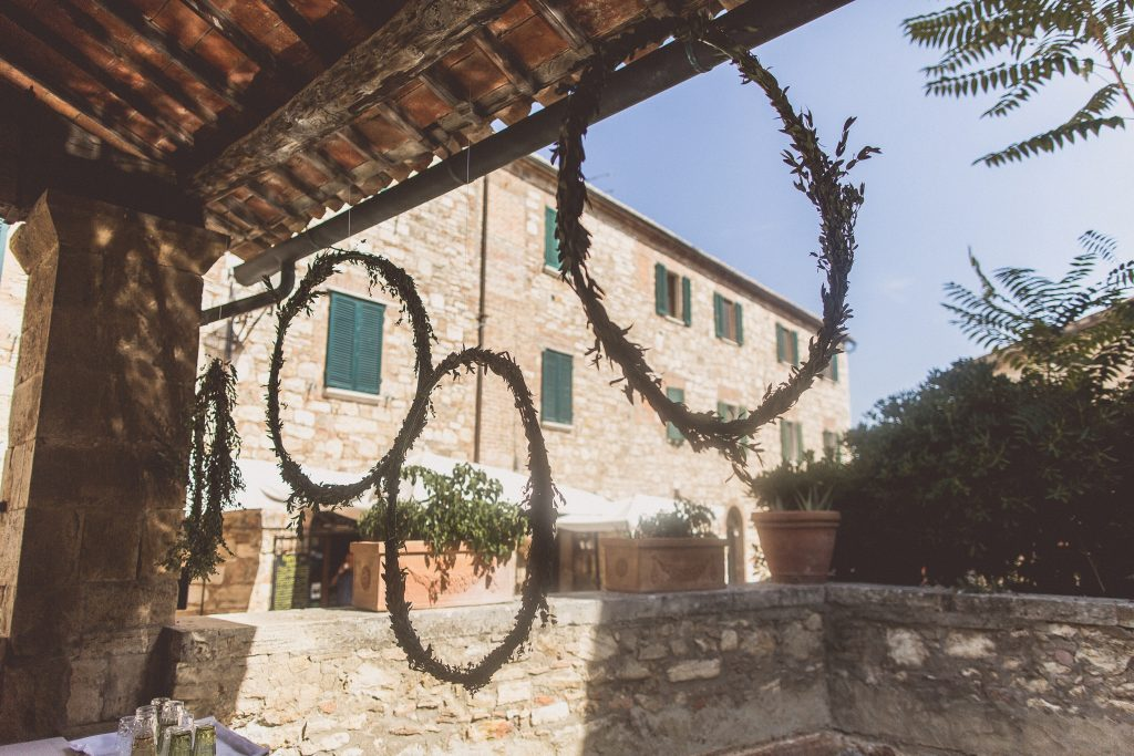 Hanging hoops foliage backdrop wedding