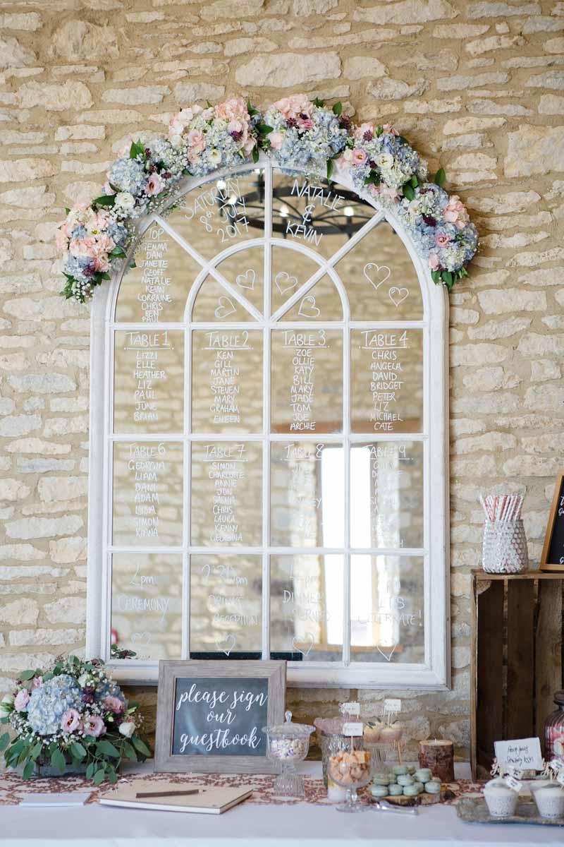 Mirror table plan wedding ideas