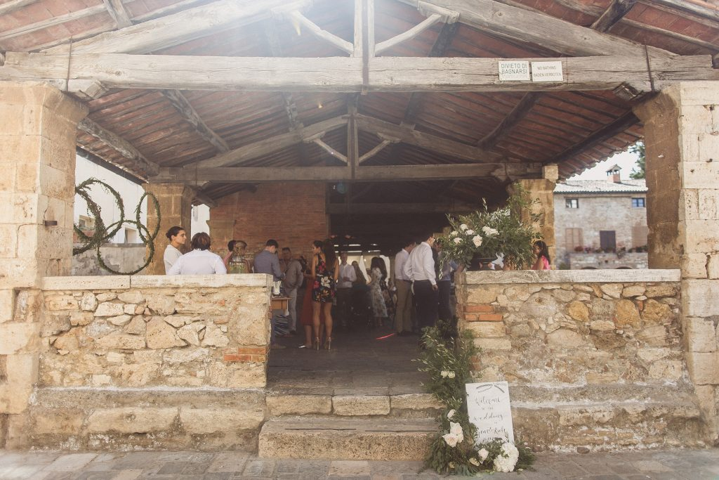 Outdoor wedding ceremony stone Bagno Vignoni Tuscany