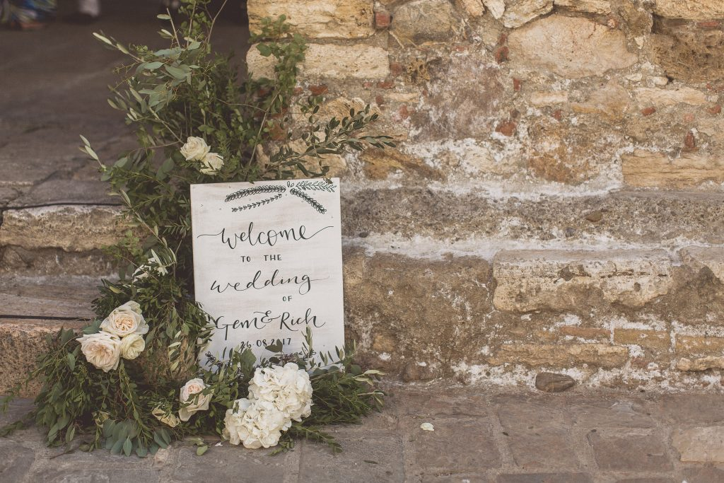 Welcome wedding sign wooden white wash Tuscany Italy destination wedding
