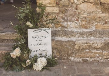 Welcome wedding sign wooden white wash Tuscany Italy destination wedding
