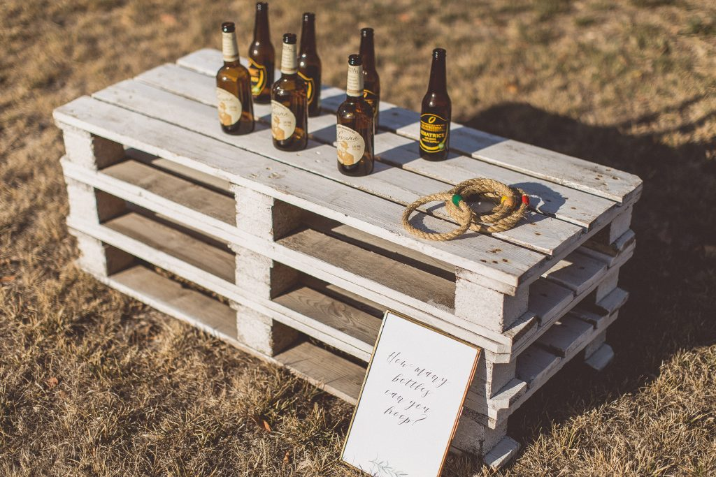 garden games wedding hoopla with beer bottles