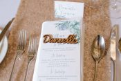 individual menu place settings rose gold table runners