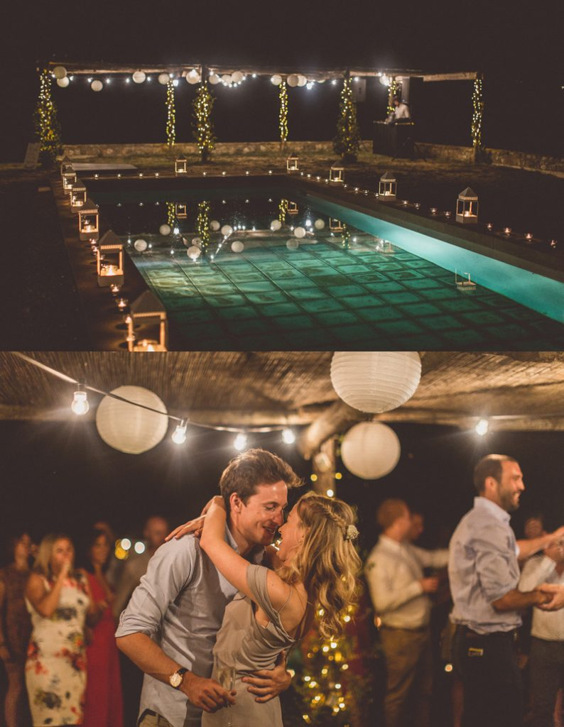 outdoor dance floor wedding string lights paper lanterns