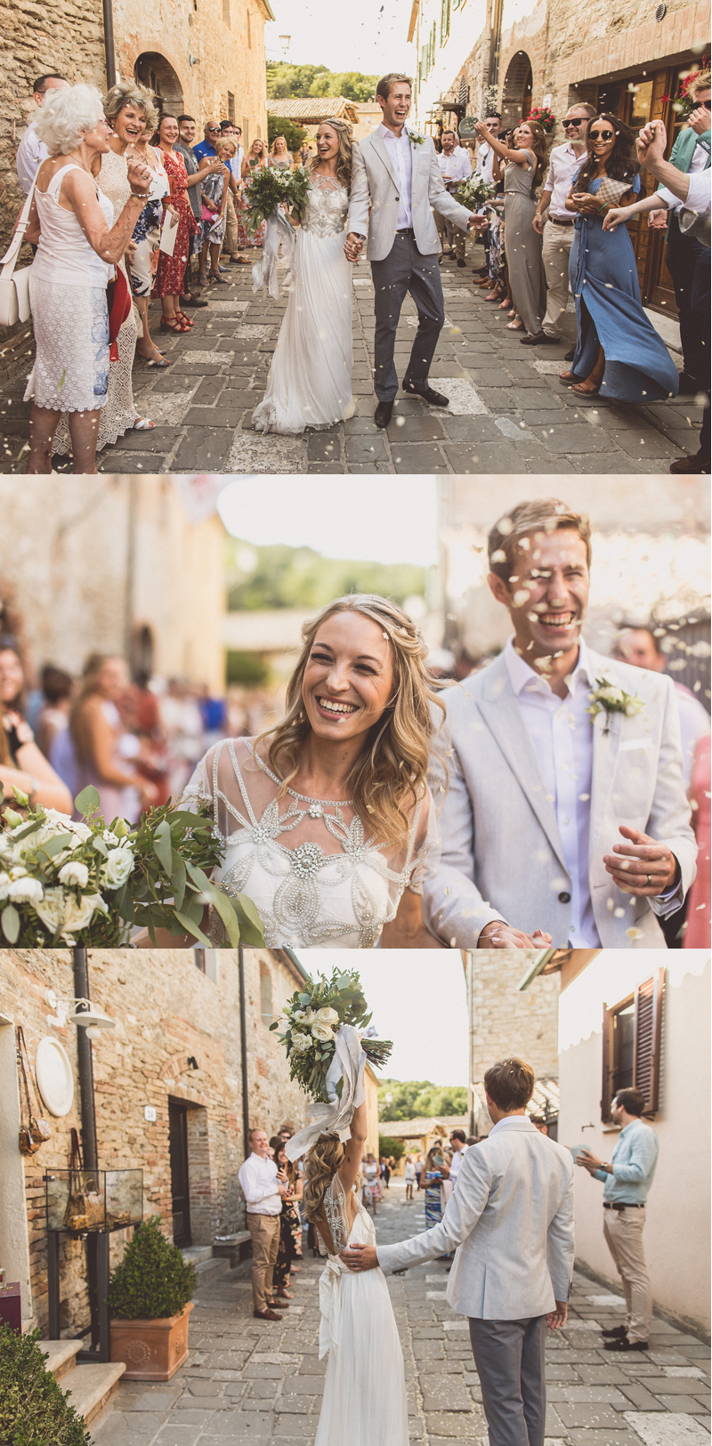 wedding confetti tunnel outdoor wedding ceremony Gemma Richard King Tuscany Bagno Vignoni