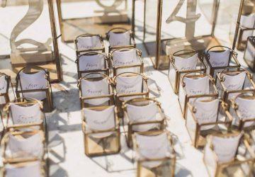 wedding escort cards brass lanterns 3