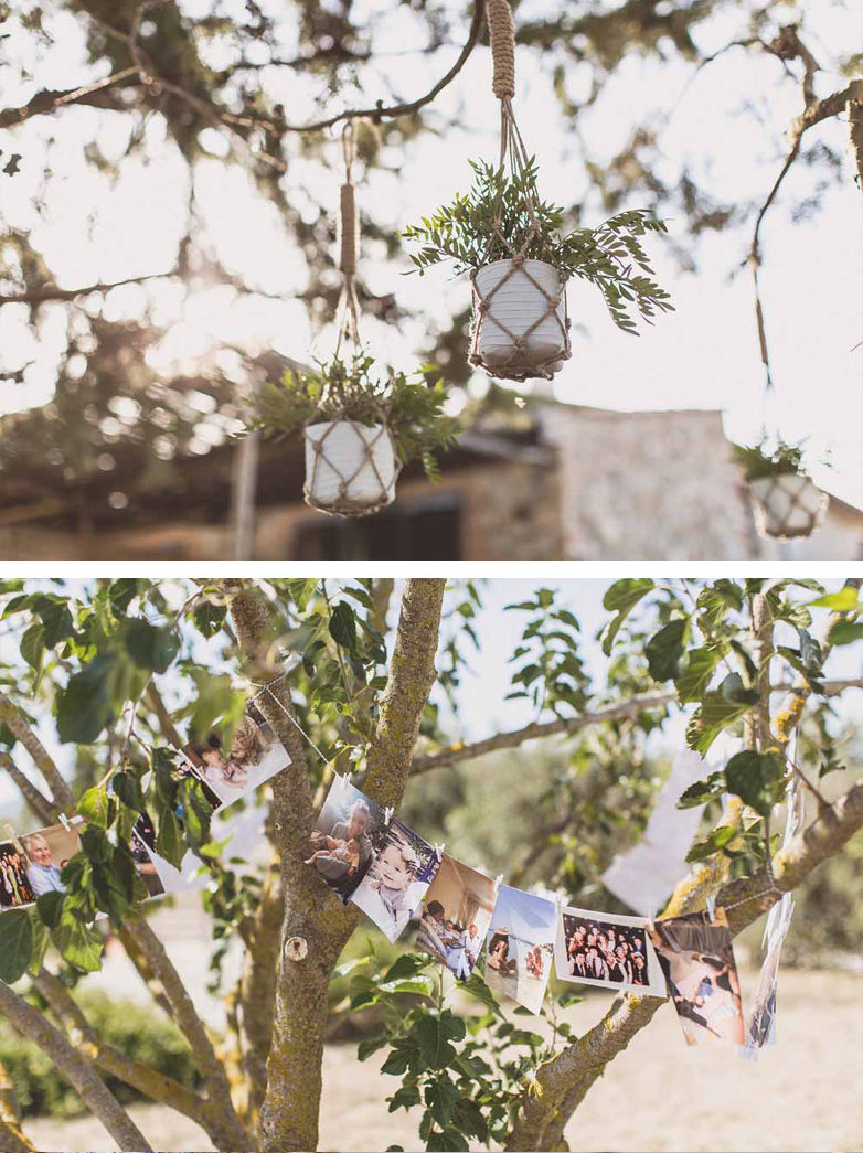 Hanging Tree decorations macrame pot holders family photos wedding