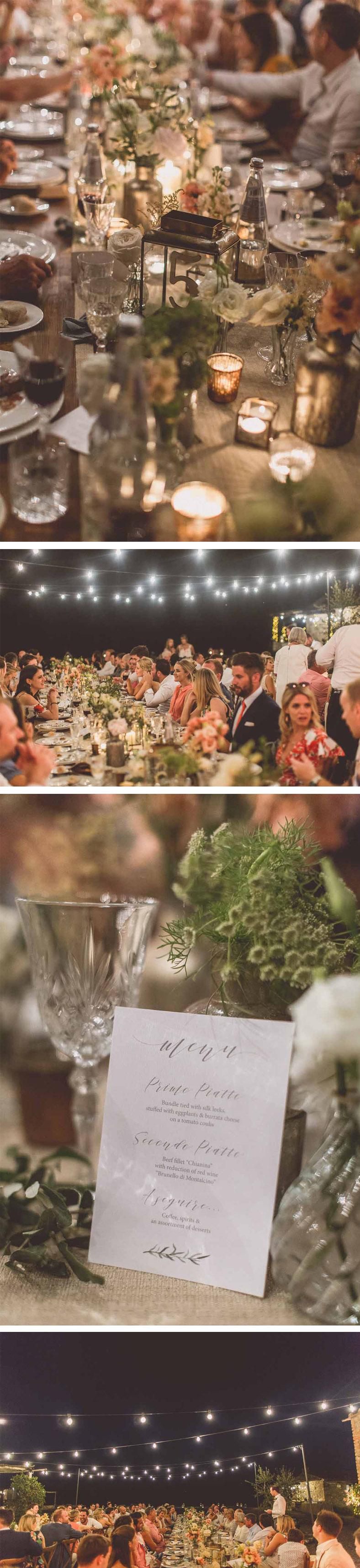Long wooden wedding tables festoon lighting dark Tuscany Italy style