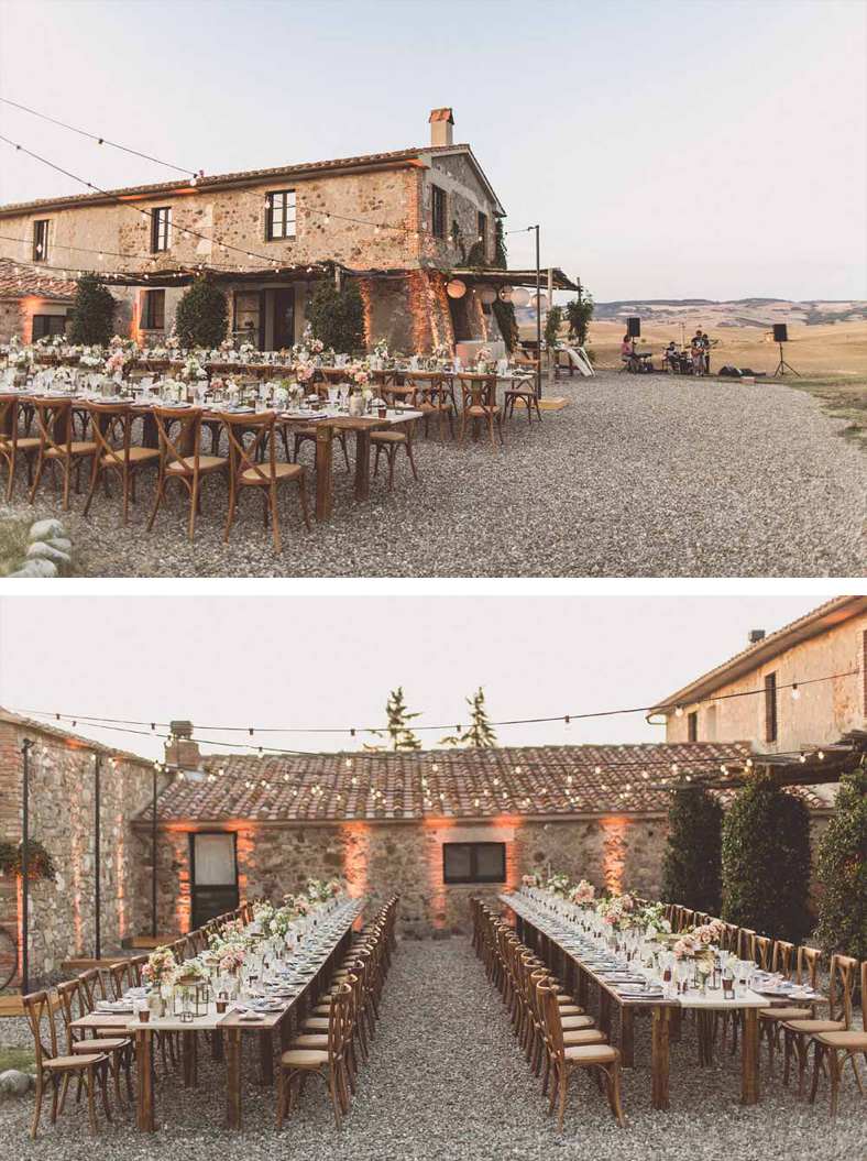 Long wooden wedding tables outside Locanda In Tuscany Italy style destination wedding