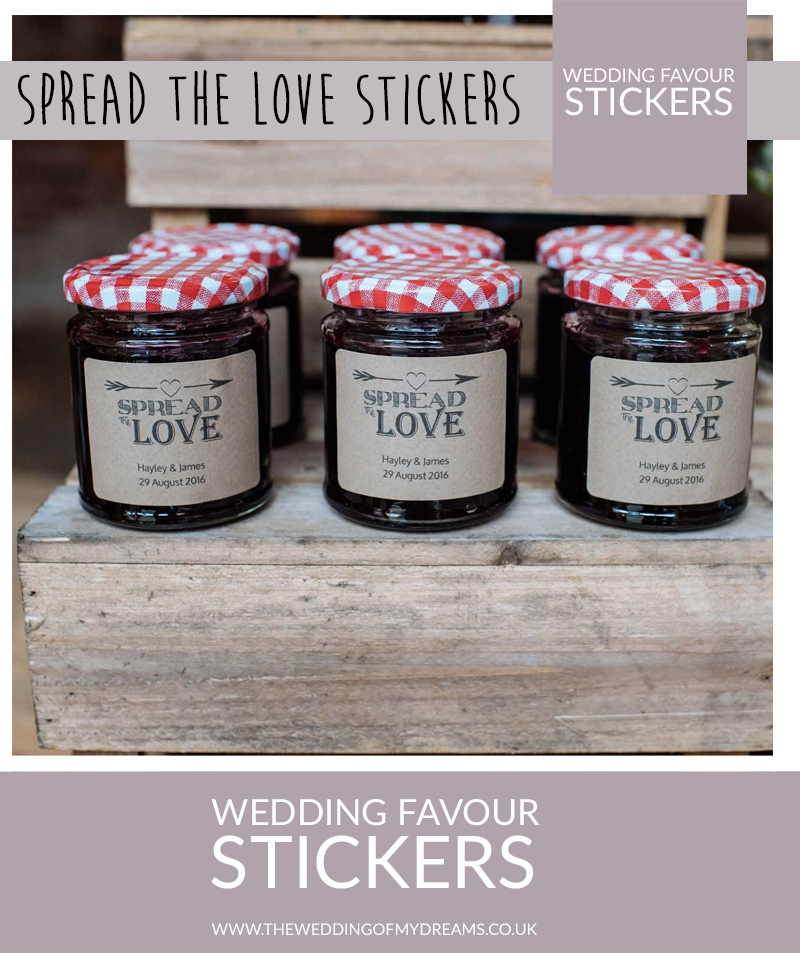 Spread the love jam chutney honey personalised wedding favour stickers