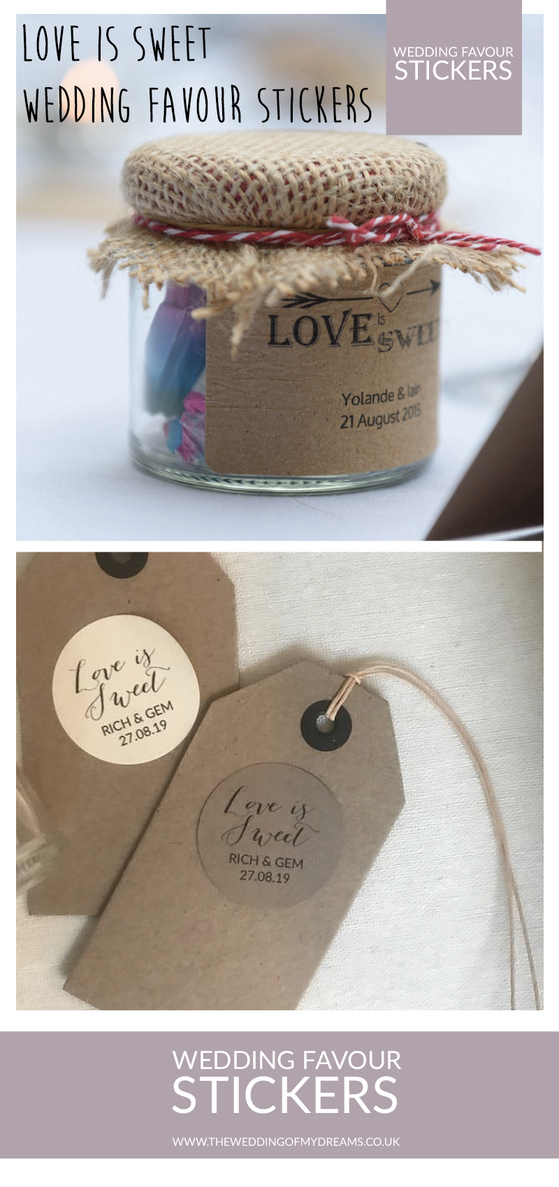 love is sweet personalised wedding favour stickers