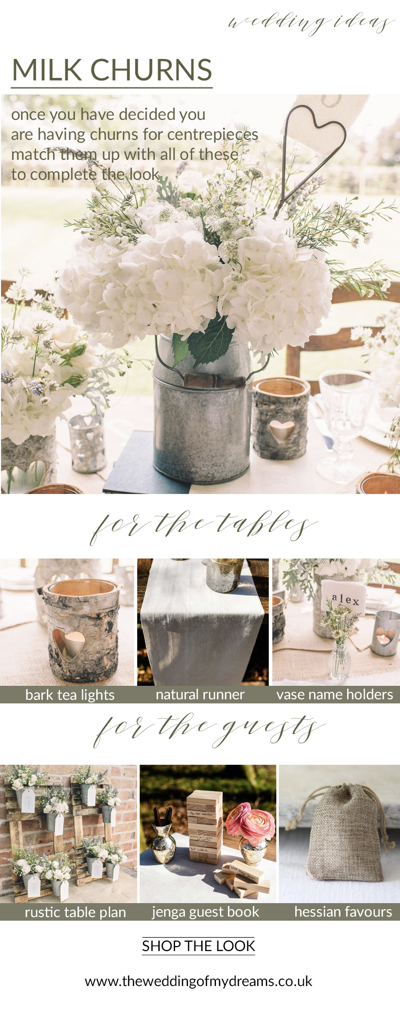 milk churn centrepieces complete the look rustic wedding ideas