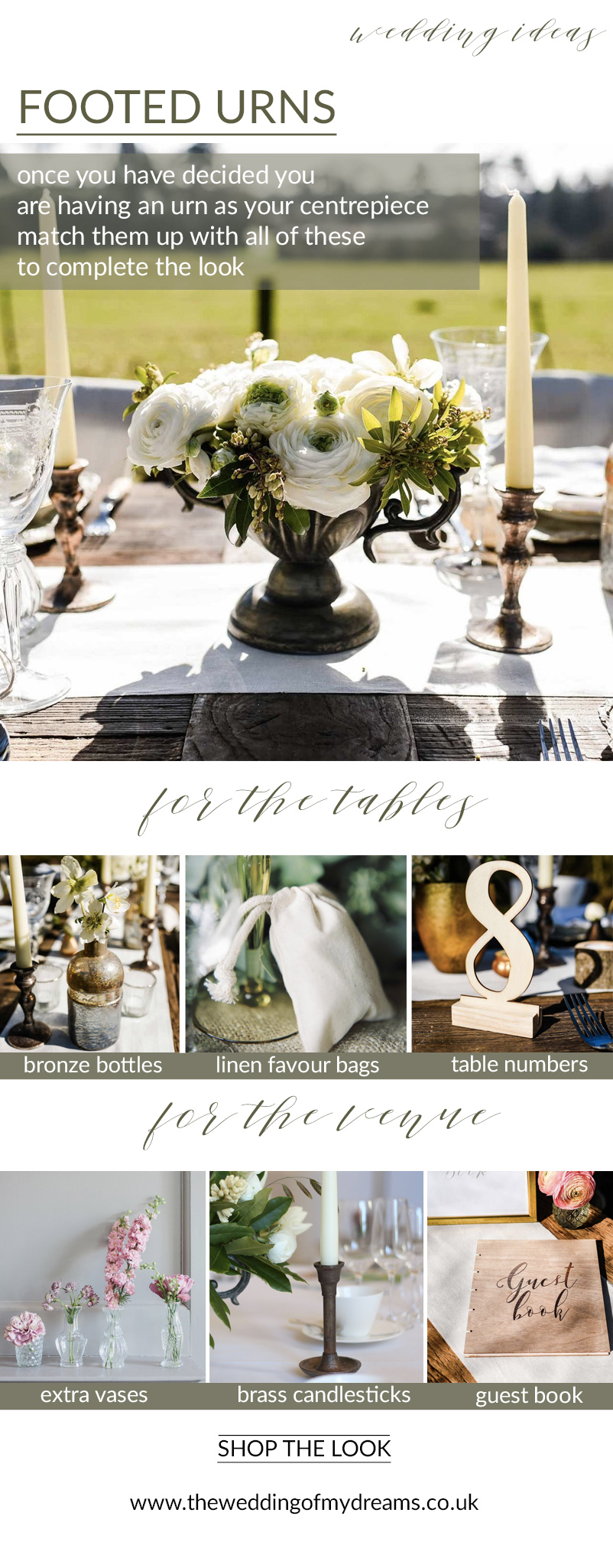 bronze urns centrepieces complete the look rustic glamour wedding ideas