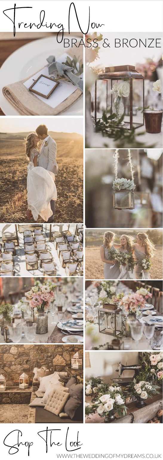 brass and bronze wedding decorations and styling ideas