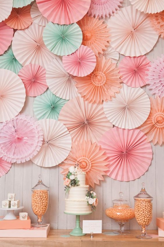 cake table wedding backdrops paper fans