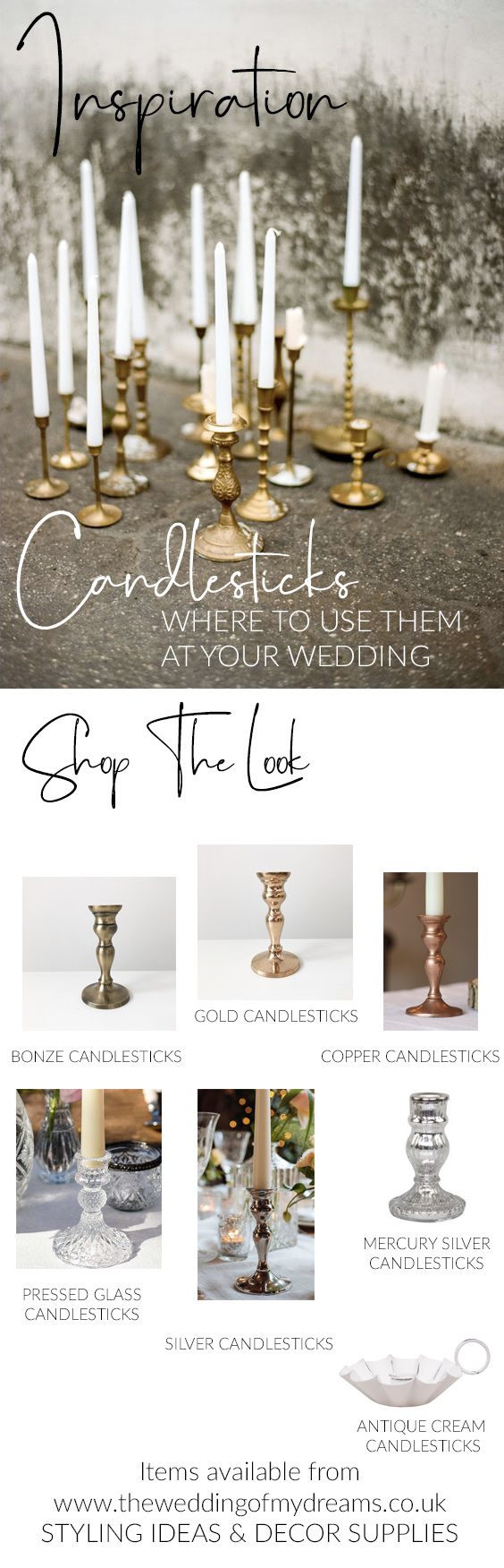 candlesticks wedding styling ideas WHERE TO USE THEM AT YOUR WEDDING SHOP THE LOOK