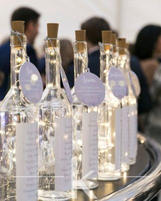 DIY wedding decorations LED lights in wine bottles table plan