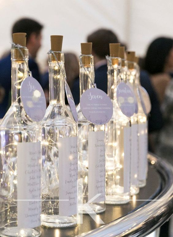 DIY wedding decorations LED lights in wine bottles table plan