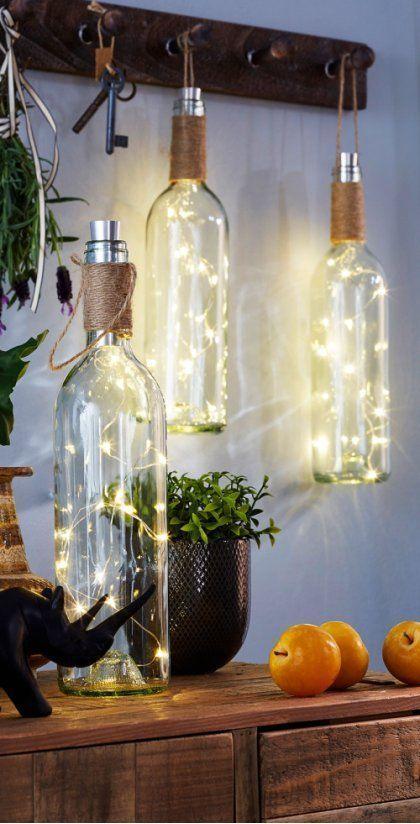 DIY wedding decorations LED lights in wine bottles