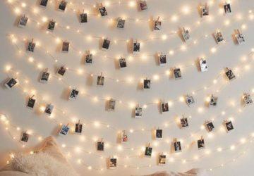 Wedding photo displays LED lights pegs and polaroid cameras