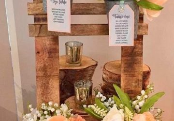 rustic wedding table plan with buckets