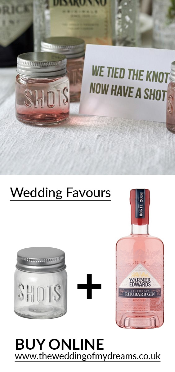 shot glasses wedding favours pink gin