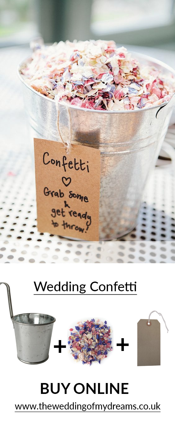 ways to present wedding confetti in silver buckets: Containers For Confetti