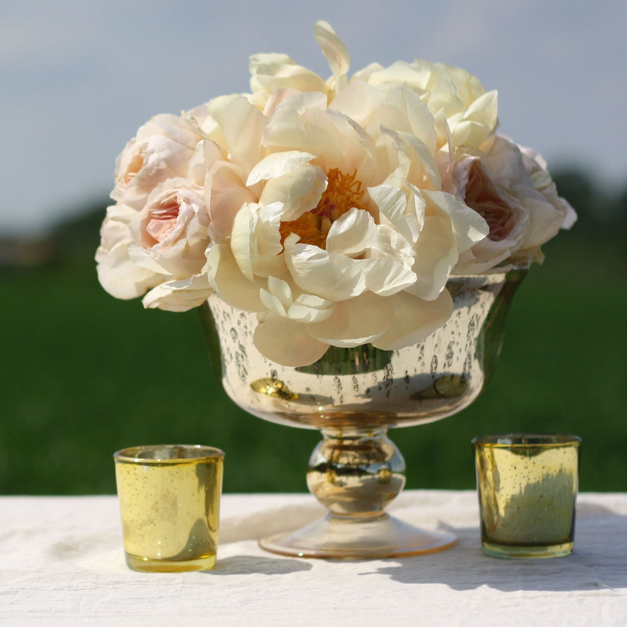 Gold footed bowl wedding centrepiece vases