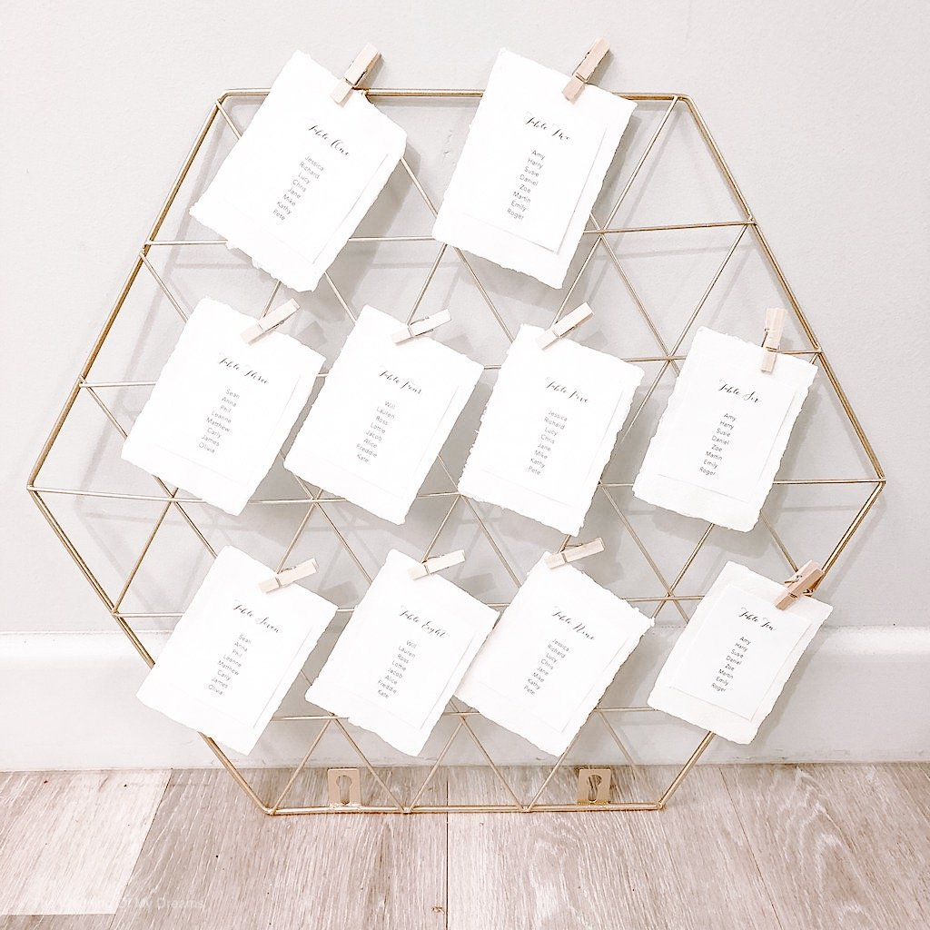 Gold wedding table plan frames