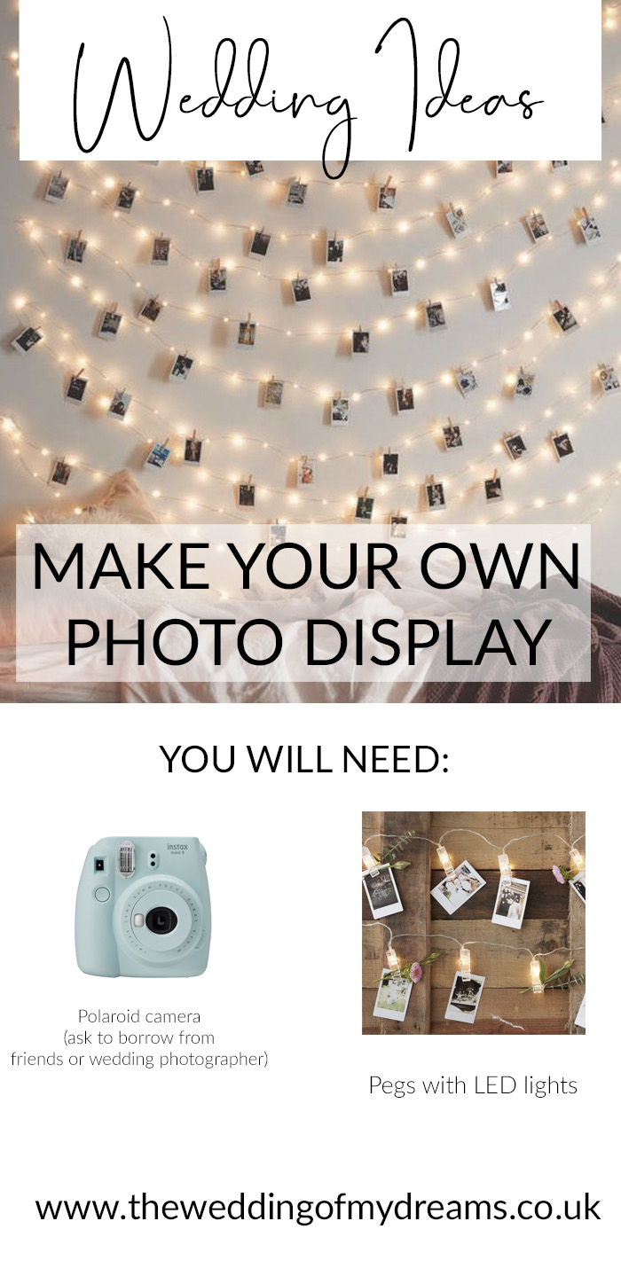 Make your own photo display at your wedding pegs with LED lights