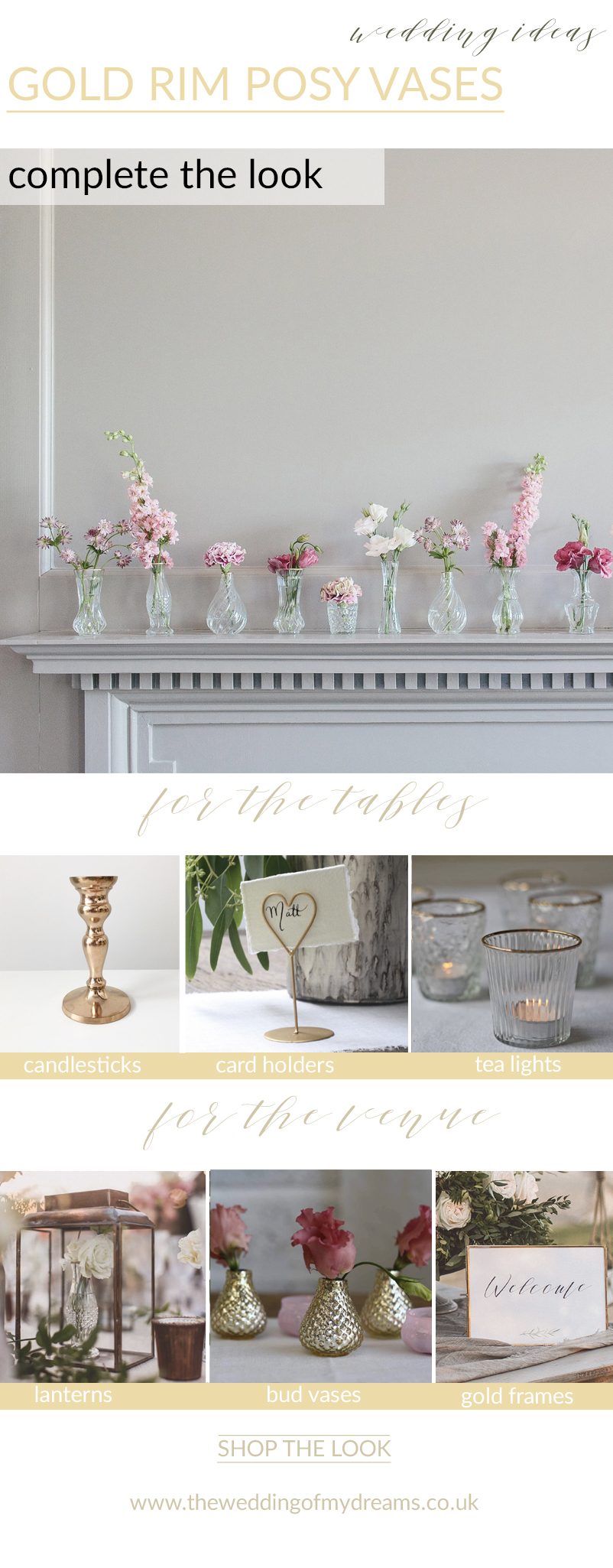 dainty gold rim posy vase centrepieces complete the look timeless elegant wedding ideas