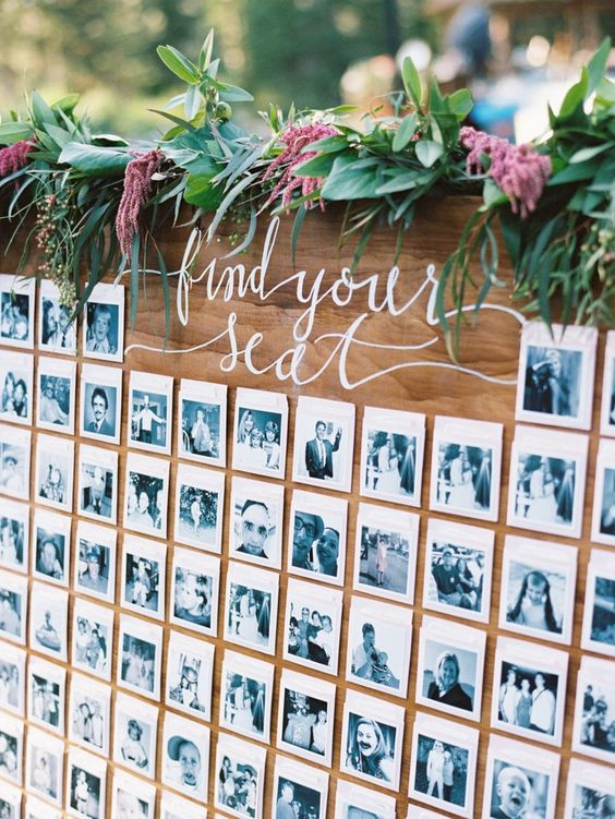 table plans with photos of each guest