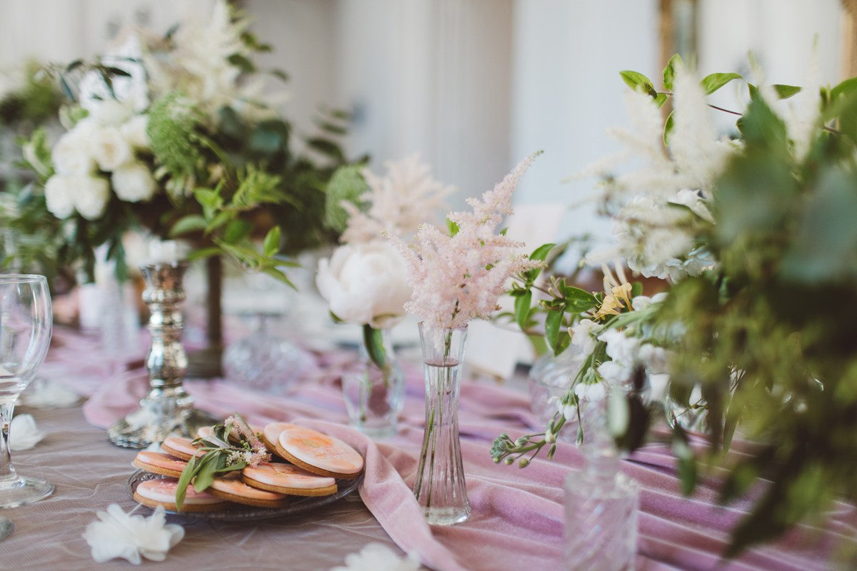 elegant pink gold glass wedding tablescape