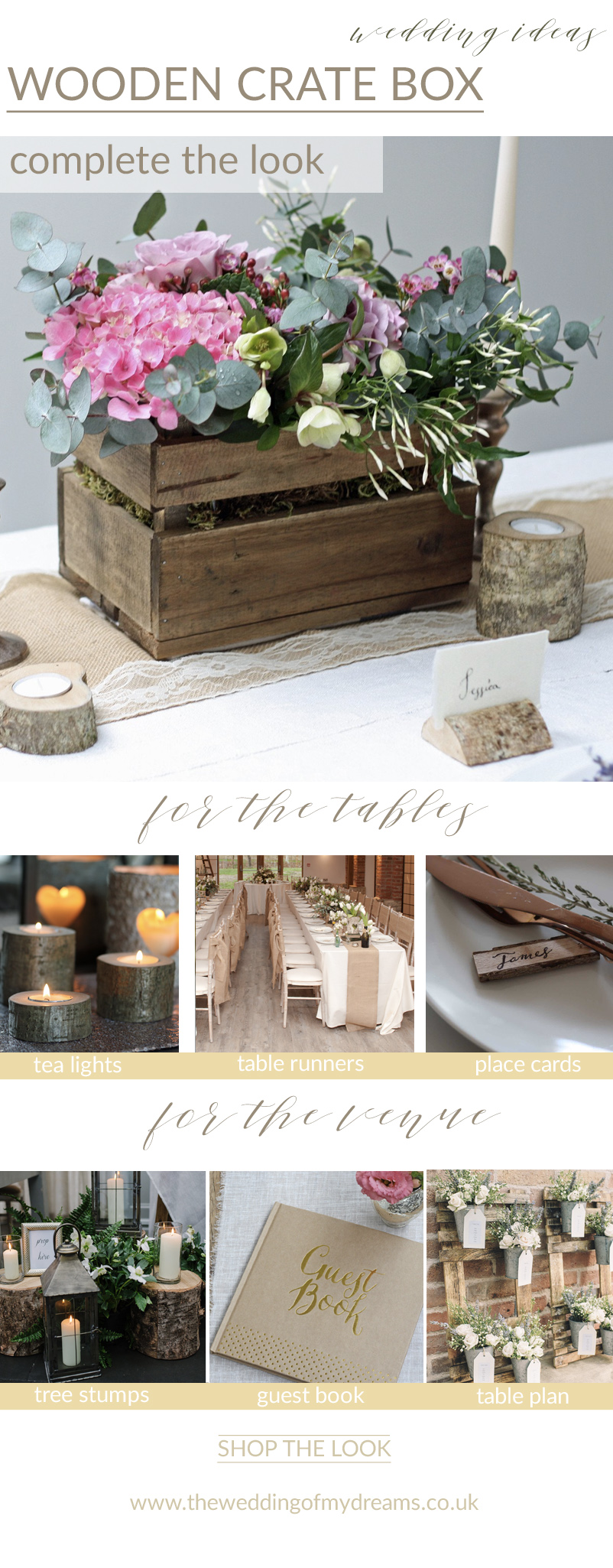 rustic wooden crate centrepieces complete the look rustic woodland wedding ideas