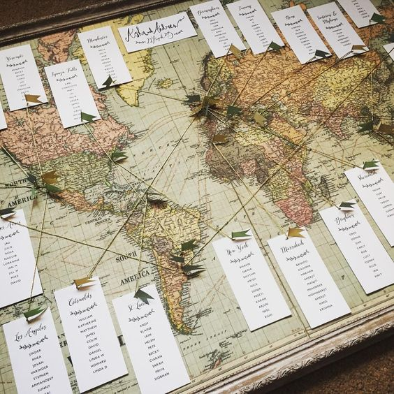 world map wedding table plans travel theme