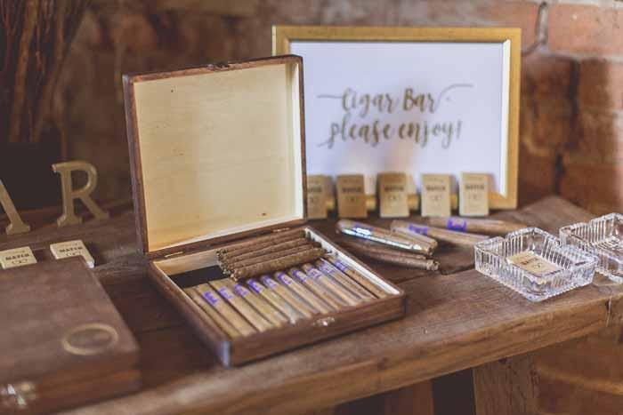 Barn wedding styling ideas - signage cigar bar