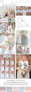 Blue pink and peach wedding colour scheme ideas