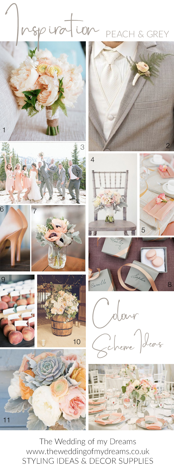 Peach and grey wedding colour scheme ideas