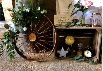 Wedding entrance display ideas rustic barn wedding styling wagon wheel cart wheels