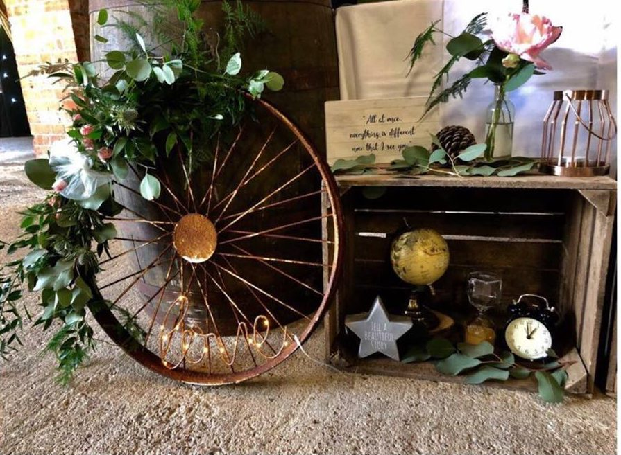 Rustic Barn Wedding Styling Cart Wheels Wagon Wheels