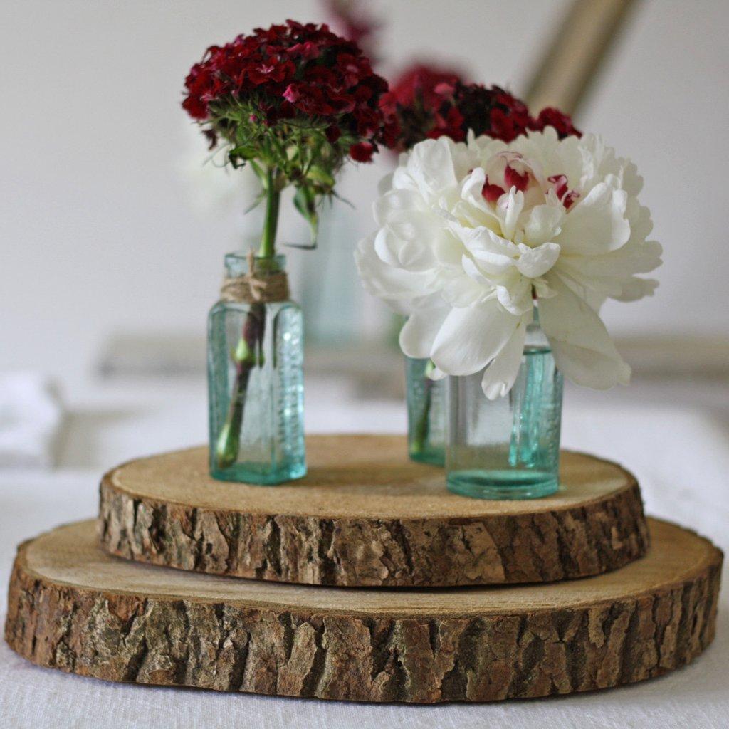 Wood slices rustic wedding decorations for barn wedding venues