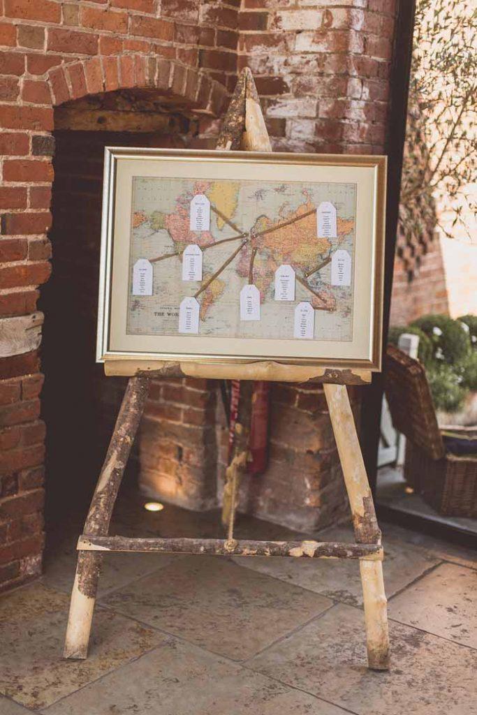 World Map wedding table plan Shustoke Barn Wedding but table pan at The Wedding of my Dreams