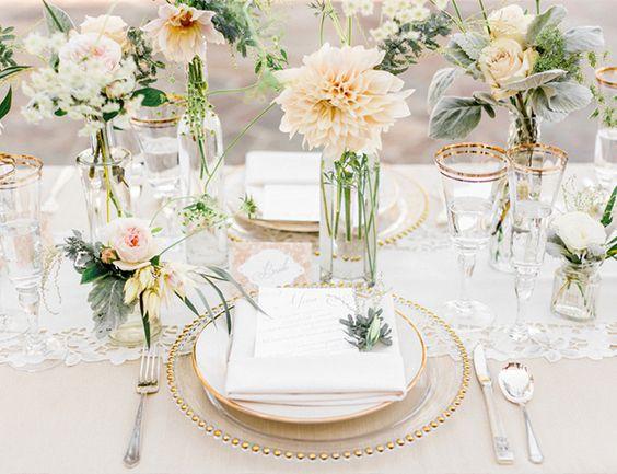 glass bud vases peach flowers wedding styling